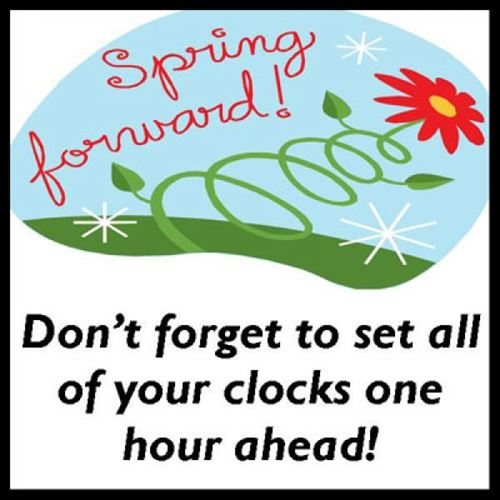 spring forward- daylight savings time